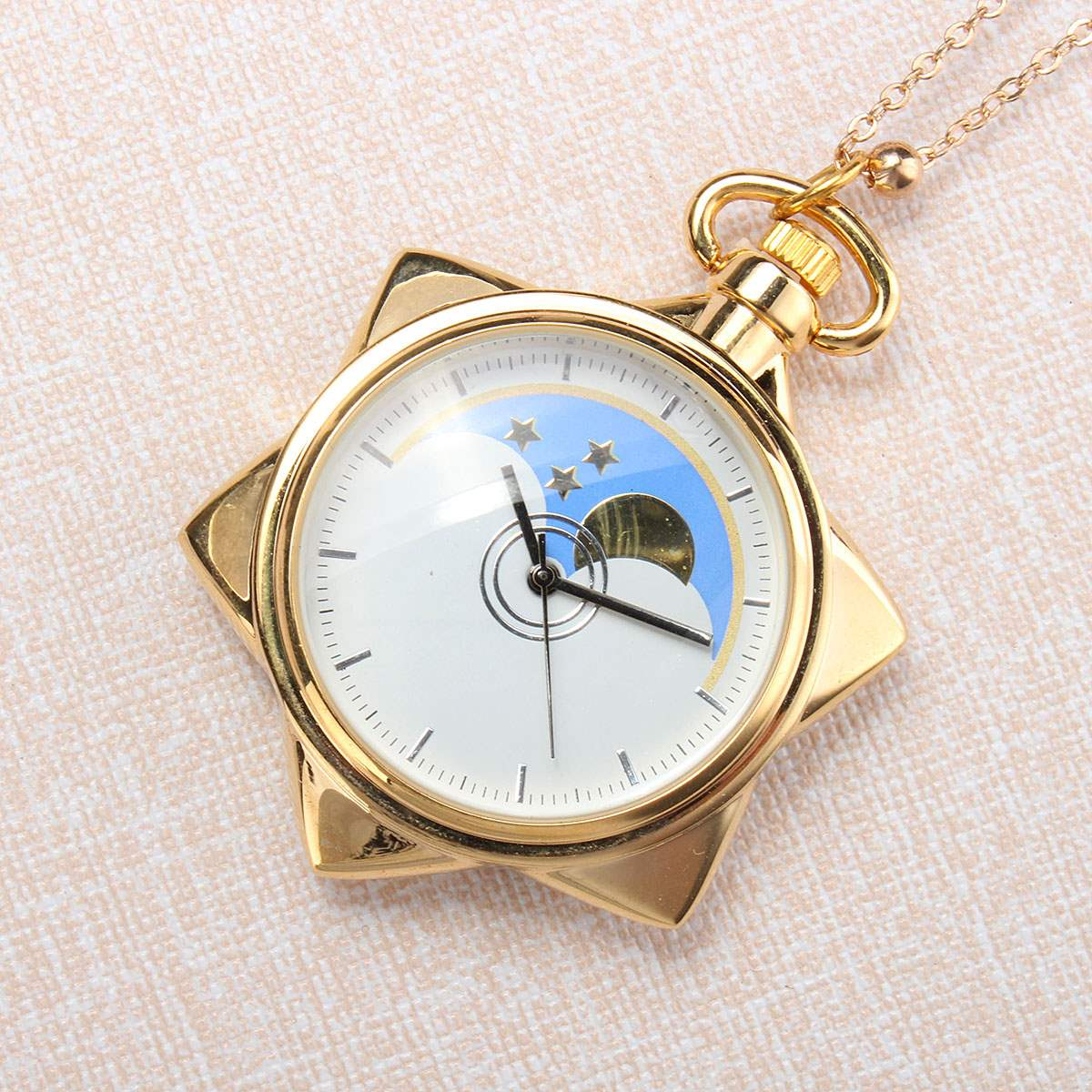 New Sailor Moon Anniversary Crystal Star Bolsillo Watch Necklace Pendant Chain Tuxedo Fans Cosplay Anime Accessories With Box hot sale sailor where sailor moon march hare lemon yellow synthetic hair cosplay wig