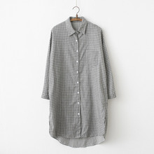 Autumn New Collection Vintage Loose All Match Women Dress Slimming Plaid Cotton Long Polo Collar Fashion
