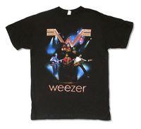 Weezer Niebieskie Światła 2008 Tour Mężczyzna Czarny T Koszula Nowa Oficjalna