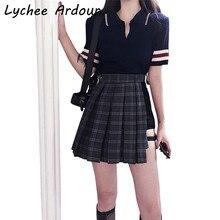 19cdc8314 Irregular Plaid Skirt With PU Leather Sashes Sexy Club Women Mini Skirts  Spring Summer Short Skirts