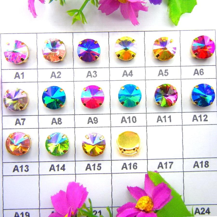 AB צבעים גולד טופר הגדרות 7 גדלים ריבולי צורה עגולה זכוכית קריסטל לתפור על חרוזים ריינסטון אביזרי שמלות כלה