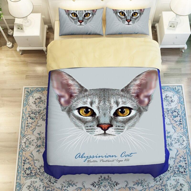 3D комплект постельного белья с русским синим котенком, 3/4 пододеяльника без наполнителя, покрывала из 100% полиэстера с рисунком Королевского