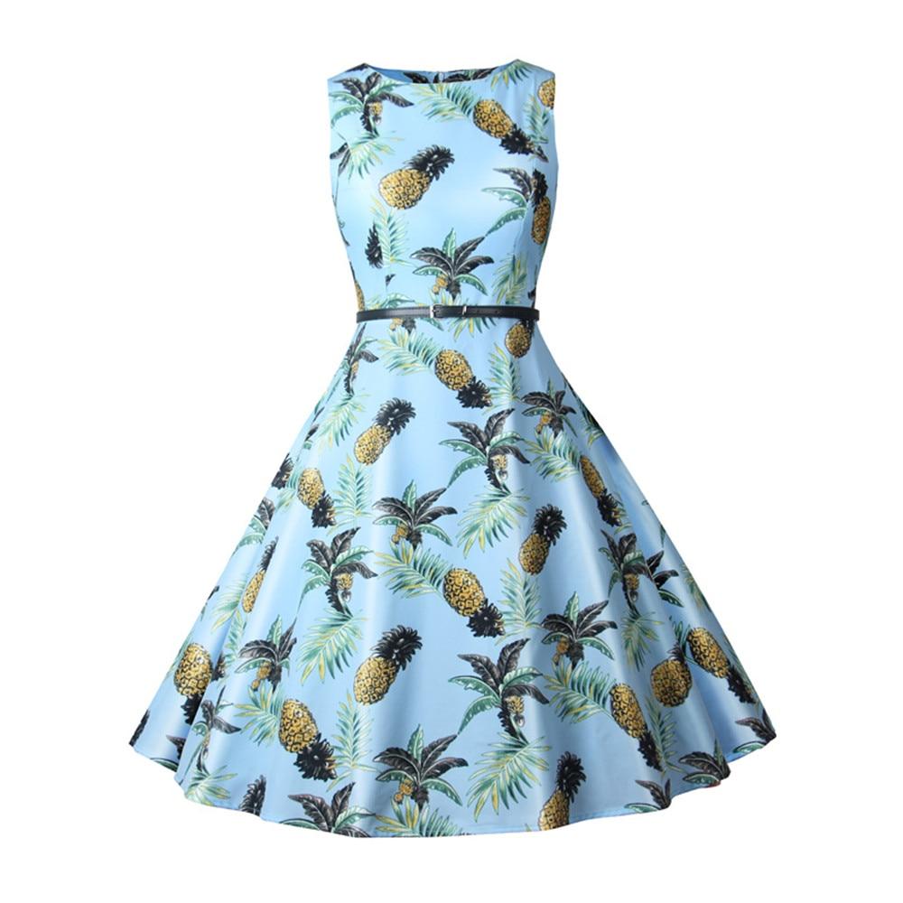 Women Summer Dress Ladies Pineapple Print Retro Vintage Dresses 50s 60s Casual Party Robe Rockabilly Dress Plus Size Vestidos