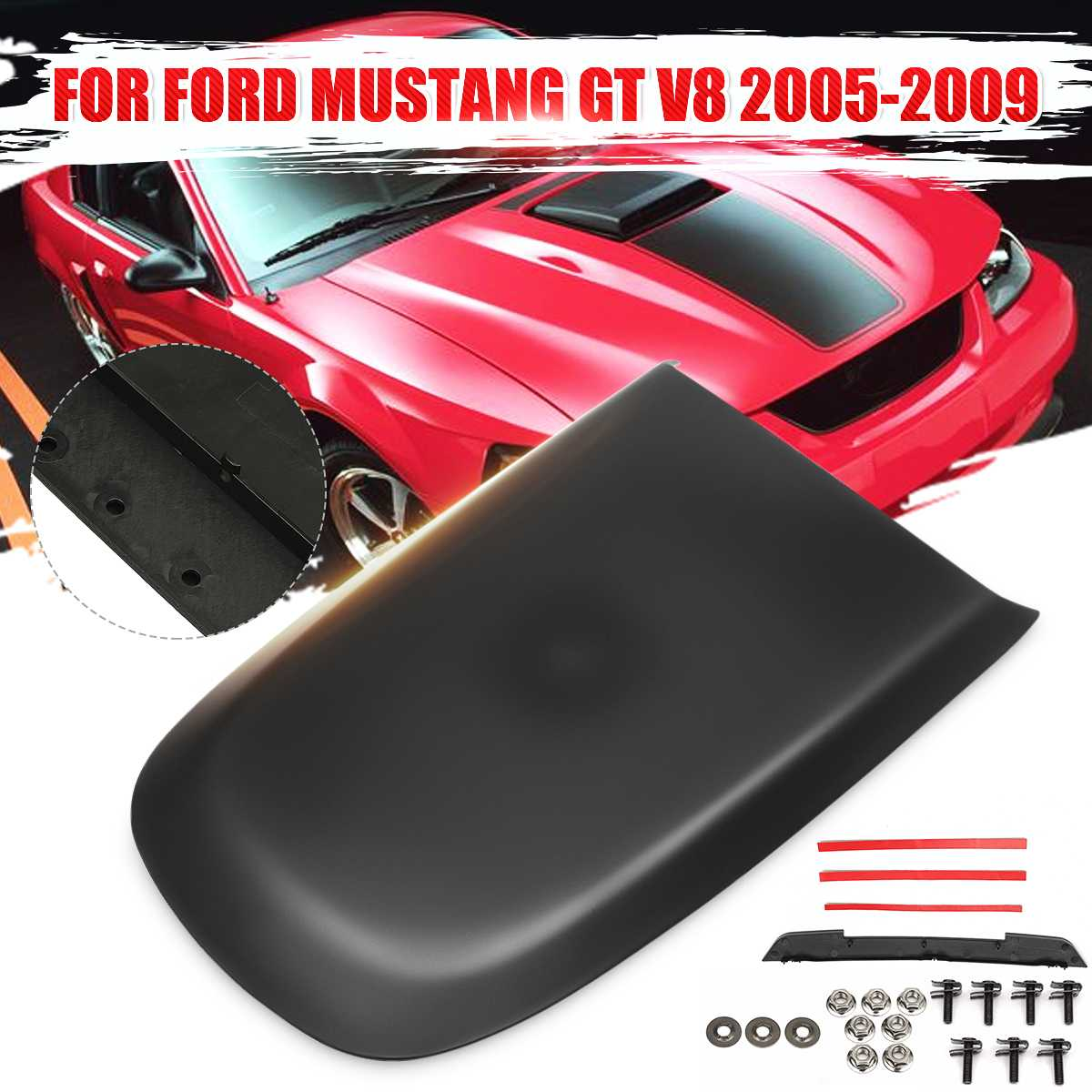ABS Front Hood Scoop Vent Black For Ford/Mustang GT V8 2005 2006 2007 2008 2009