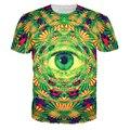 Moda Homens Erva Daninha Psicodélico T-Shirt Dos Homens 3d All Seeing Eye Trippy olho t Hip Hop Roupas de Plantas Daninhas para Os Homens As Mulheres Por Atacado
