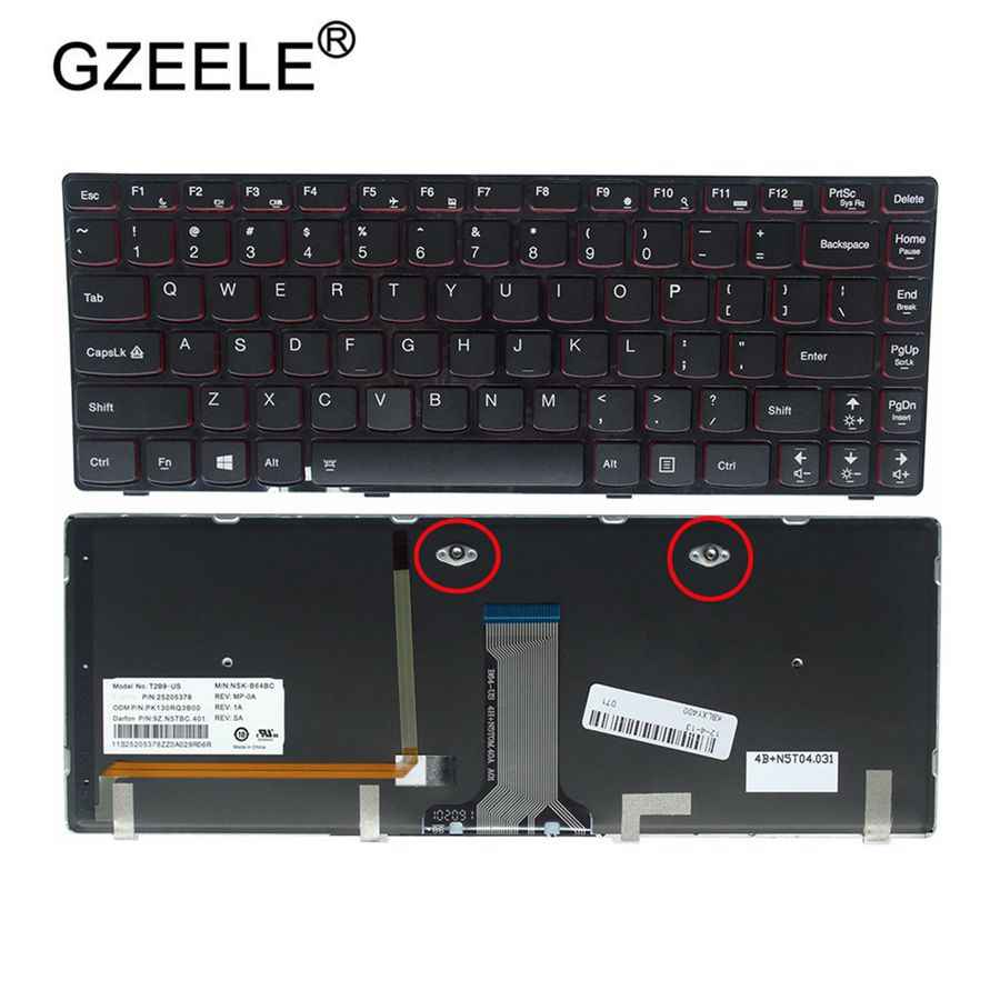 GZEELE США клавиатура для ноутбука LENOVO Y400 Y410 Y430P Y400P Y410P Y400N Y410N английский США Подсветка ноутбук клавиатура 25205348 Новый