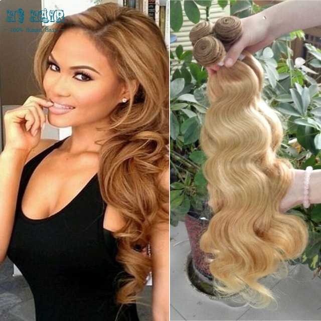 Peruvian Virgin Body Wave Hair Beauty Plus Hair Blonde Color 3bundle