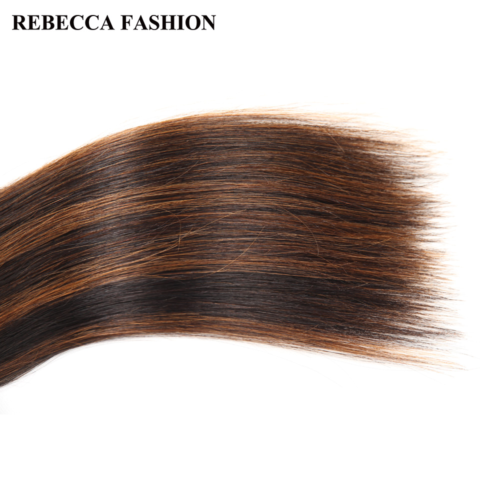 Rebecca Double Drawn Hair 113g   Silky Straight  Hair Piano Brown 613 Blonde Colors  Bundles 1pc 4