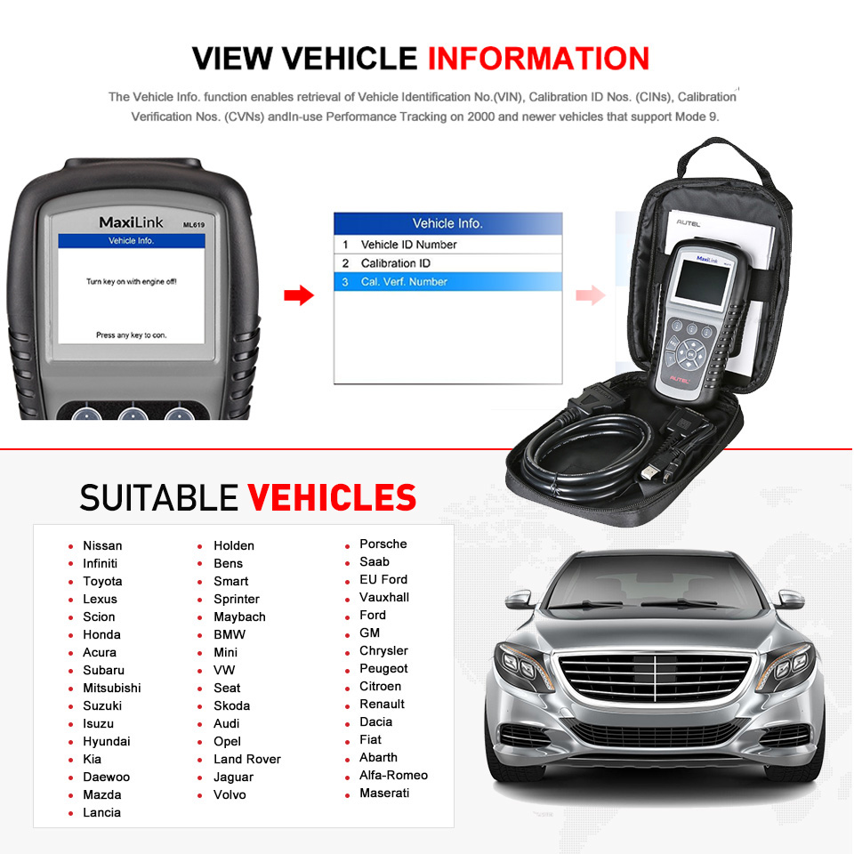 Image 5 - Autel Maxilink ML619 OBD2 Scanner ABS SRS CAN OBDII OBD 2 Code Reader Car Auto Diagnostic Tool PK AL619 Free Update Lifetime-in Code Readers & Scan Tools from Automobiles & Motorcycles