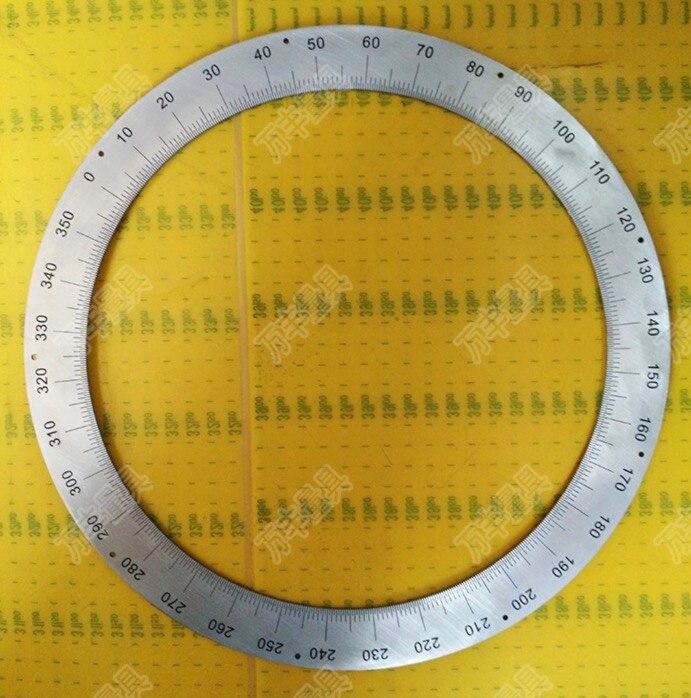 Diâmetro: 310mm inner d: 250mm espessura: 2mm 360 graus dial 0.5 graus Dial aço Inoxidável anel buraco posicionamento de marcação