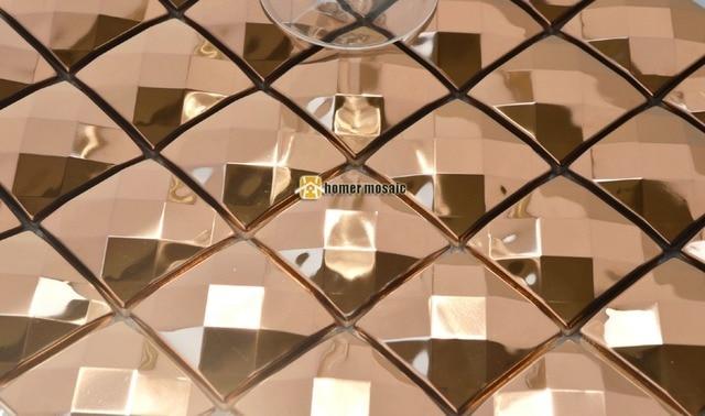 Faccia diamante d oro rosa mosaico del metallo in acciaio inox