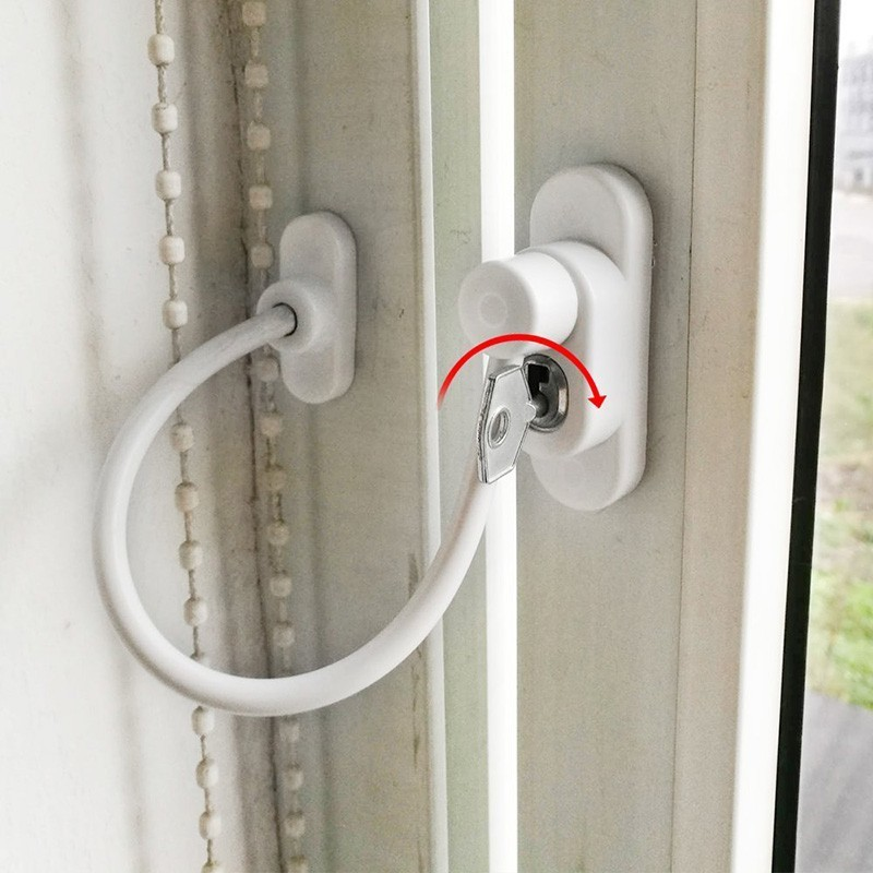 1Sst 19cm Baby Safety Cable Wire Child Lock Protection Window Stopper Cabinet Baby Care Security Door Lock Enfant With Key