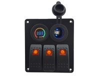 DC 12-24 V colore voltmetro + Blu led Power Charger Socket 3 gang orange rocker switch panel per marine auto rv veicoli