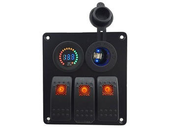 DC 12-24V color voltmeter + Blue led Power Charger Socket 3 Gang Orange Rocker Switch Panel for Marine Boat Car RV Vehicles chint lighting switches 118 type switch panel new5d steel frame four position six gang two way switch panel