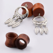 2pair Wood Ear Pierces Dilators Flesh Ear Skin Tunnels Plugs Flare Pendant Ear Expansions Earrings Body Piercing Jewelry