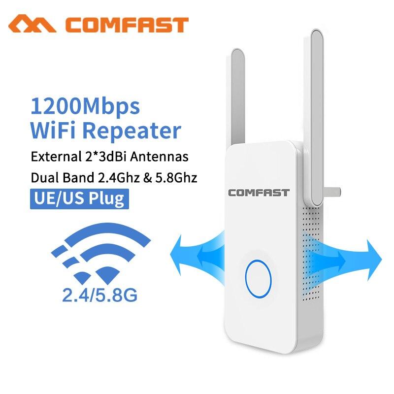 2019 1200 Mbps Comfast Gigabit WiFi Répéteur Routeur Point D'accès WiFi Range Extender 2 * 3dBI Antennes 5.8 Ghz Wi fi Signal Amplifer