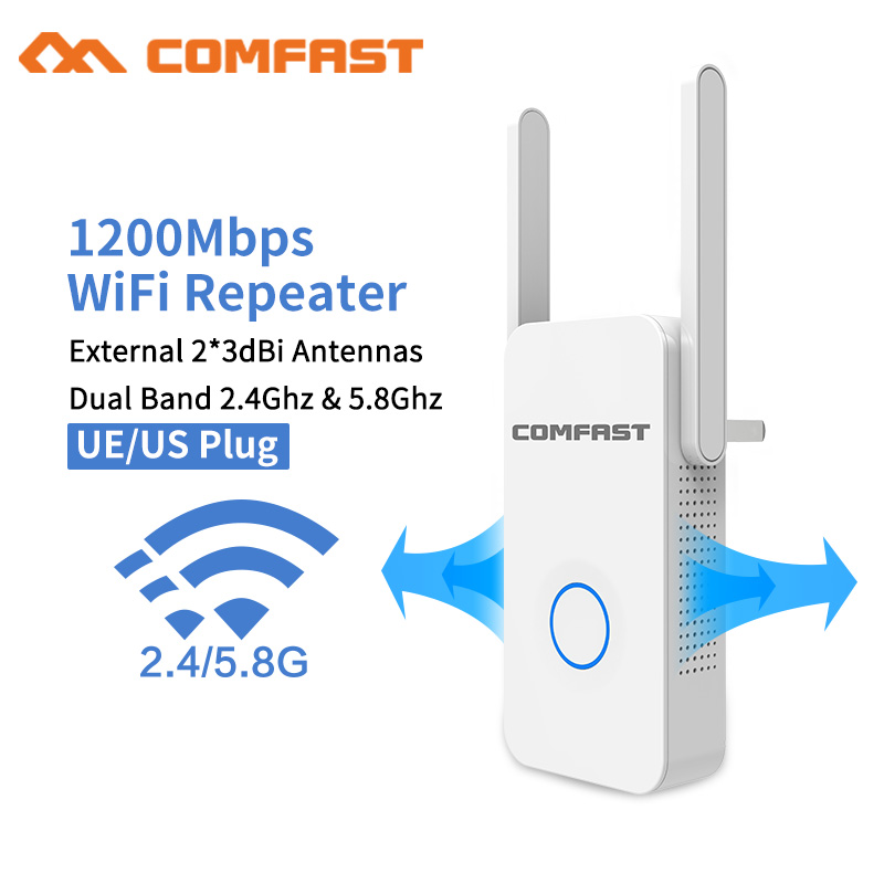 20pc DHL 1200Mbps COMFAST CF-WR752AC Wireless WiFi Range Extender 2.4/5Ghz Dual Band Repeater Signal Booster 2 Ethernet Antennas
