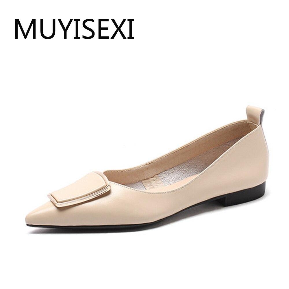 Super confort appartements bout pointu en cuir véritable printemps été dames doux élégant femmes marque chaussures grande taille DMJ02 MUYISEXI-in Chaussures plates femme from Chaussures    1