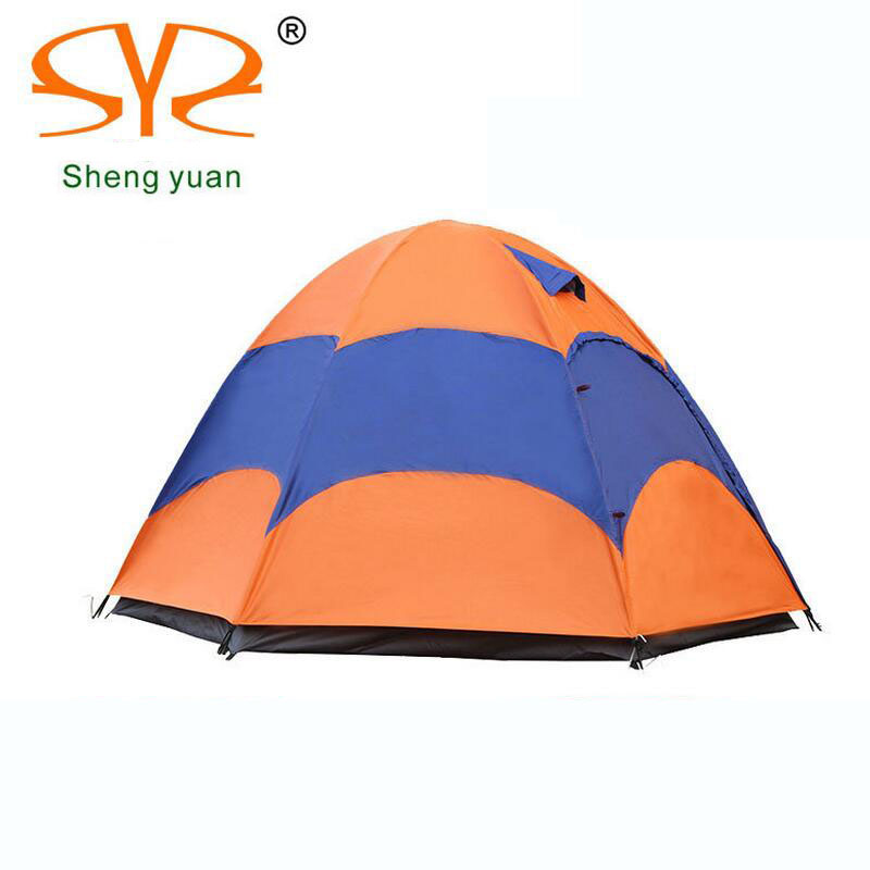 Large camping tent 4-5 person gazebo Double layer waterproof Tourist tent outdoor awning tents camping family picnic Party tents octagonal outdoor camping tent large space family tent 5 8 persons waterproof awning shelter beach party tent double door tents