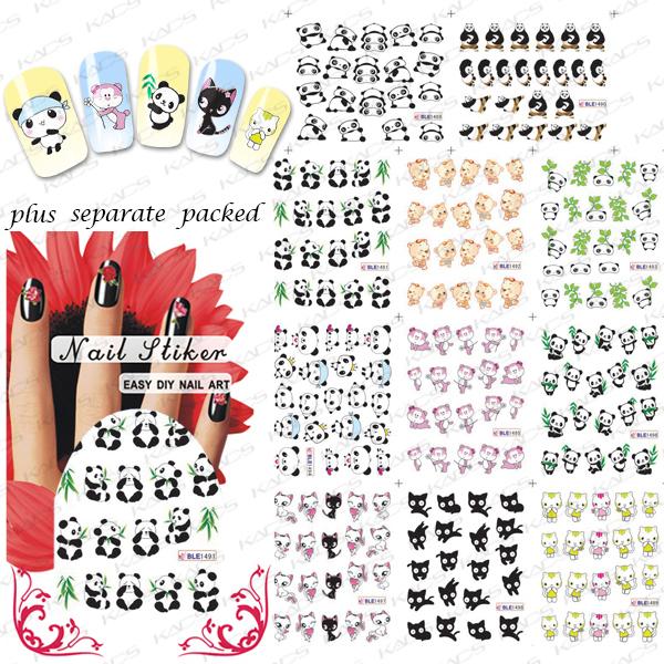 NUEVO 50 hoja/LOT Kung Fu Panda y precioso gato de la historieta pegatina de Uñas de Arte Diseño de uñas accesorios de uñas arte que Se Entrega