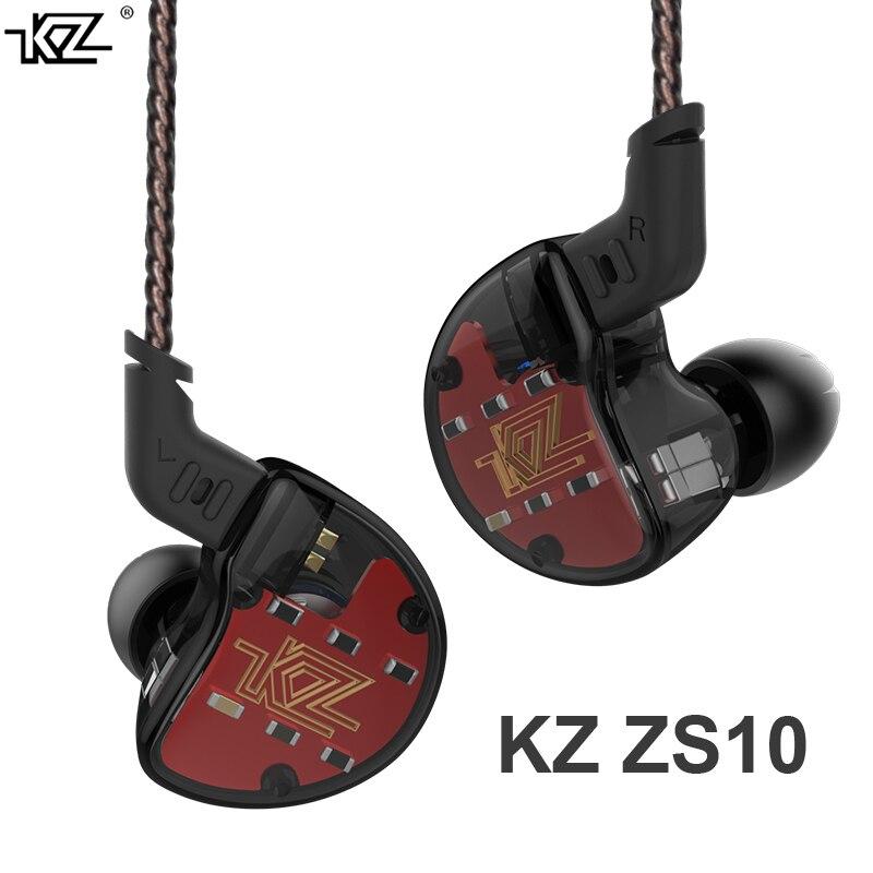 KZ ZS10 4BA+1Dynamic Hybrid In Ear HIFI DJ Monito Running Sport Earphone Headset Earbud Earphone aptx bluetooth V AS10/ZS6/BA10 kz zs10 earphones 4ba 1 dd hybrid in ear headphone hifi bass headset dj monitor earphone earbuds kz zs6 as10 zst es4 ed16