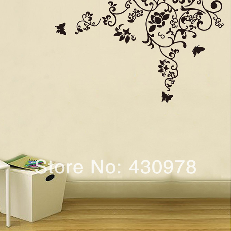QZ955 Free Shipping 1Pcs Aestheticism Flower Branch Butterfly <font><b>Elegant</b></font> Removable PVC Wall Stickers <font><b>Home</b></font> <font><b>Decoration</b></font> Gift