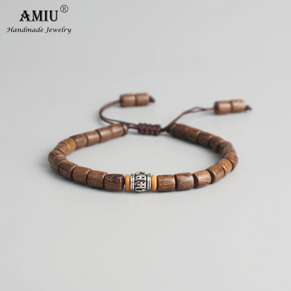 AMIU Handmade Tibetan Prayer Wheel Bead Olive Nut Bracelet Tibetan Buddhist Mantra Sign Charm Natural Wood Beads Bracelet