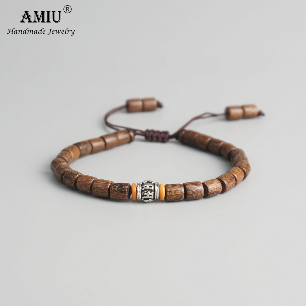 AMIU Handmade Tibetan Prayer Wheel Bead Olive Nut Bracelet Tibetan Buddhist Mantra Sign Charm Natural Wood Beads Bracelet bracelet