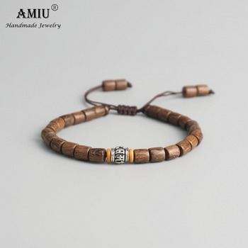 AMIU Handmade Tibetan Prayer Wheel Bead Olive Nut Bracelet Tibetan Buddhist Mantra Sign Charm Natural Wood Beads Bracelet buddhist rope bracelet