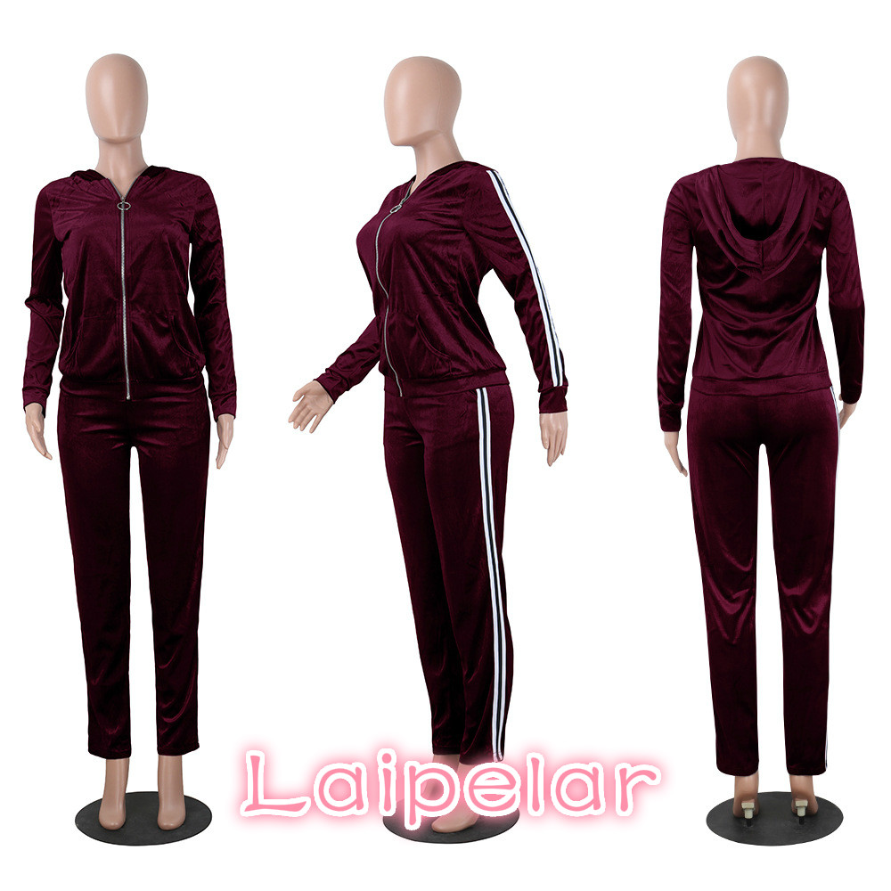 Laipelar Strip Spliced Velvet Tracksuit Winter Two Piece Set Top and Pants Full Sleeve Casual Women Sets Velour Sweatsuit D35BA 3