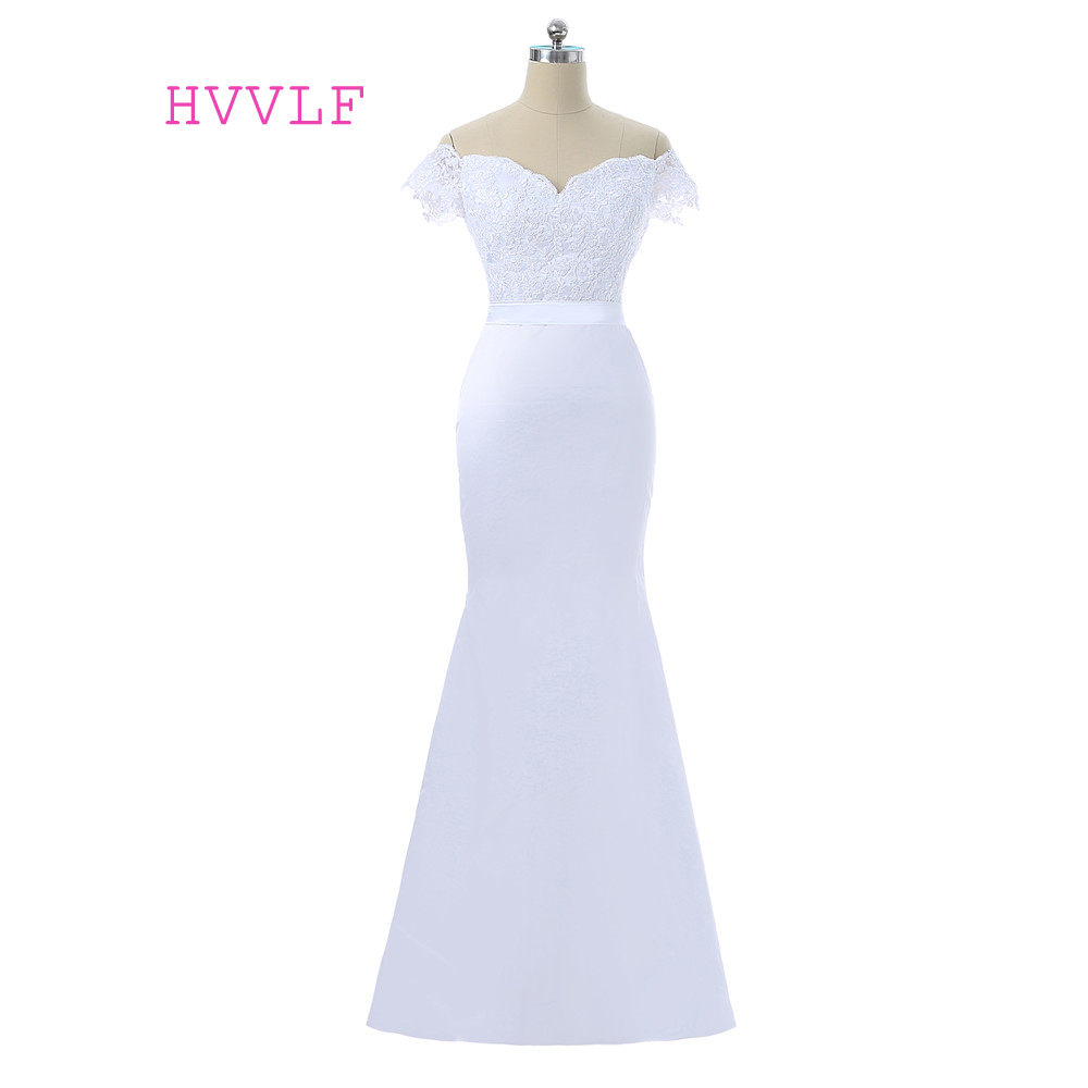 White 2019 Cheap   Bridesmaid     Dresses   Under 50 Mermaid V-neck Cap Sleeves Appqliques Lace Backless Long Wedding Party   Dresses