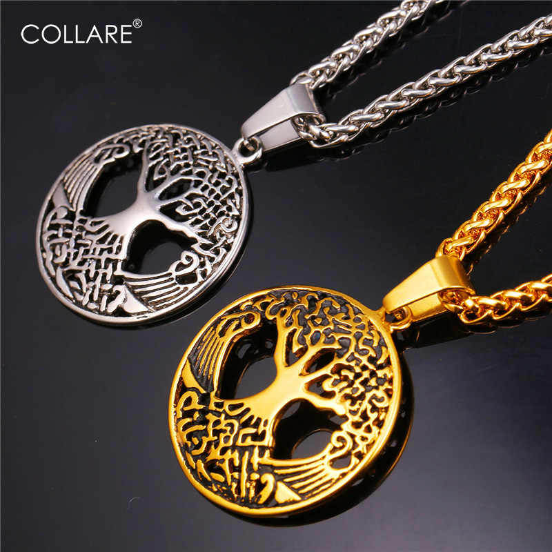 Collareวินเทจต้นไม้แห่งชีวิตจี้สีทองกลวงอุปกรณ์สแตนเลสโชคดีเครื่องประดับสร้อยคอผู้หญิงผู้ชายP134