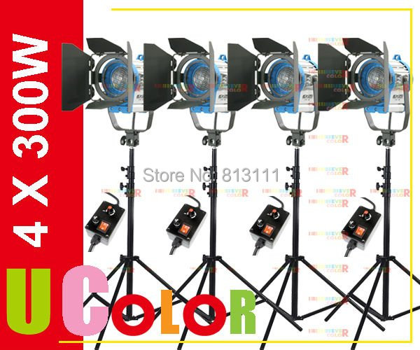4 x 300W Tungsten Fresnel Continuous With Dimmer Light Video Spot Movie Lighting Kit 1200W cheap dimmable 1200w hmi fresnel light daylight electronic ballast with case lighting film for movie light sdutio lighting