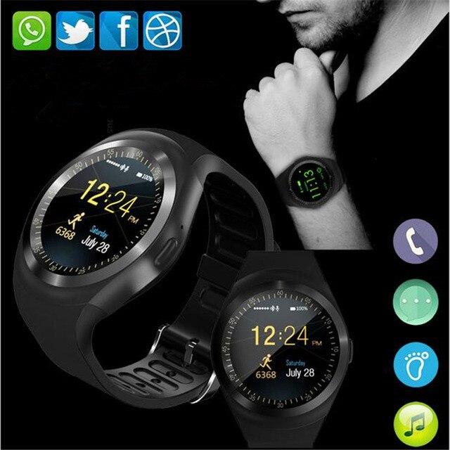 Y1 Intelligente Watchs Supporto Rotondo Nano SIM e Carta di TF Con Whatsapp E Facebook Uomo Donna D'affari Smartwatch Per IOS Android