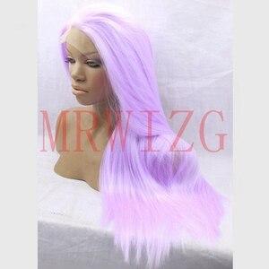 Peluca sintética de encaje frontal sin pegamento de color púrpura claro de 26 pulgadas con aspecto natural para afroamericanos