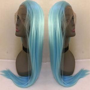 Image 4 - Bombshell שמיים כחול ישר סינטטי שיער תחרה מול פאת Glueless טבעי קו שיער עמיד בחום סיבי שיער לנשים פאות