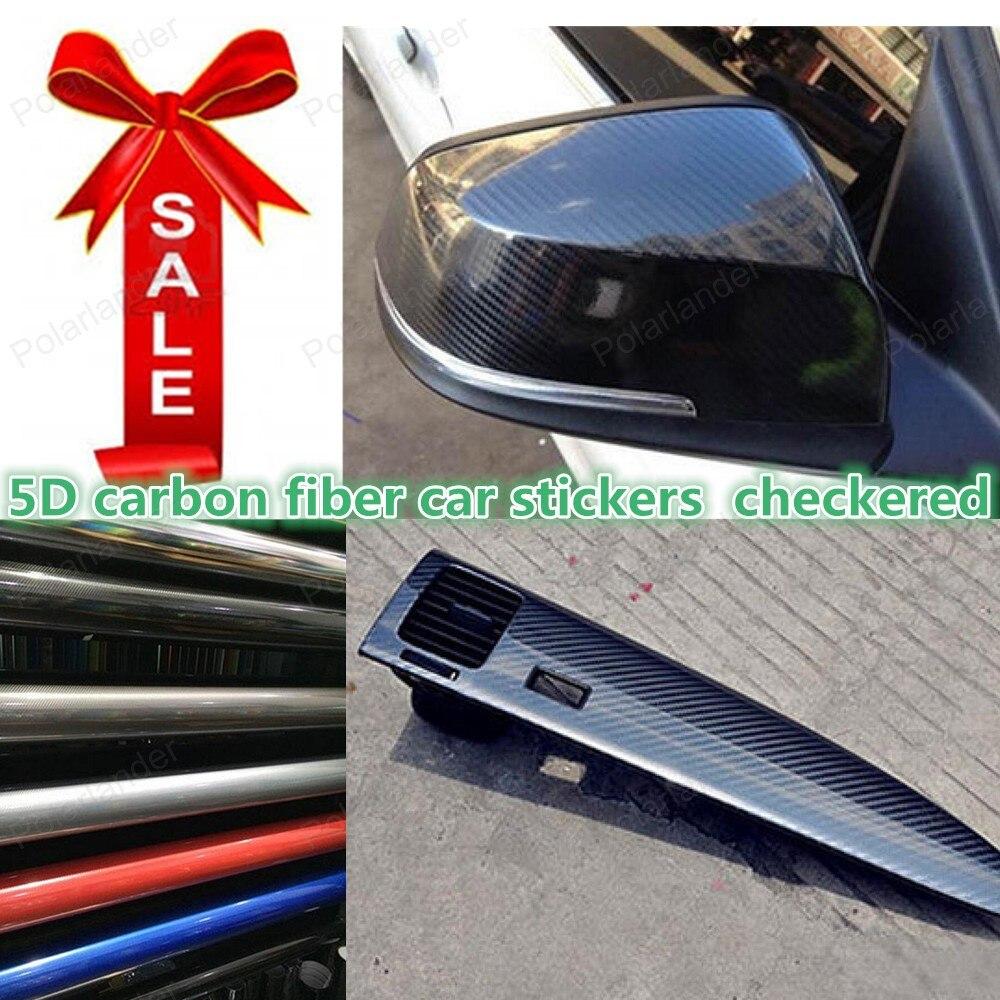 5D Grand Plaid En Fiber De Carbone Vinyle Wrap 5D Carbone Wraps avec Bulle D'air Libre Taille: 152*20 cm/rolll