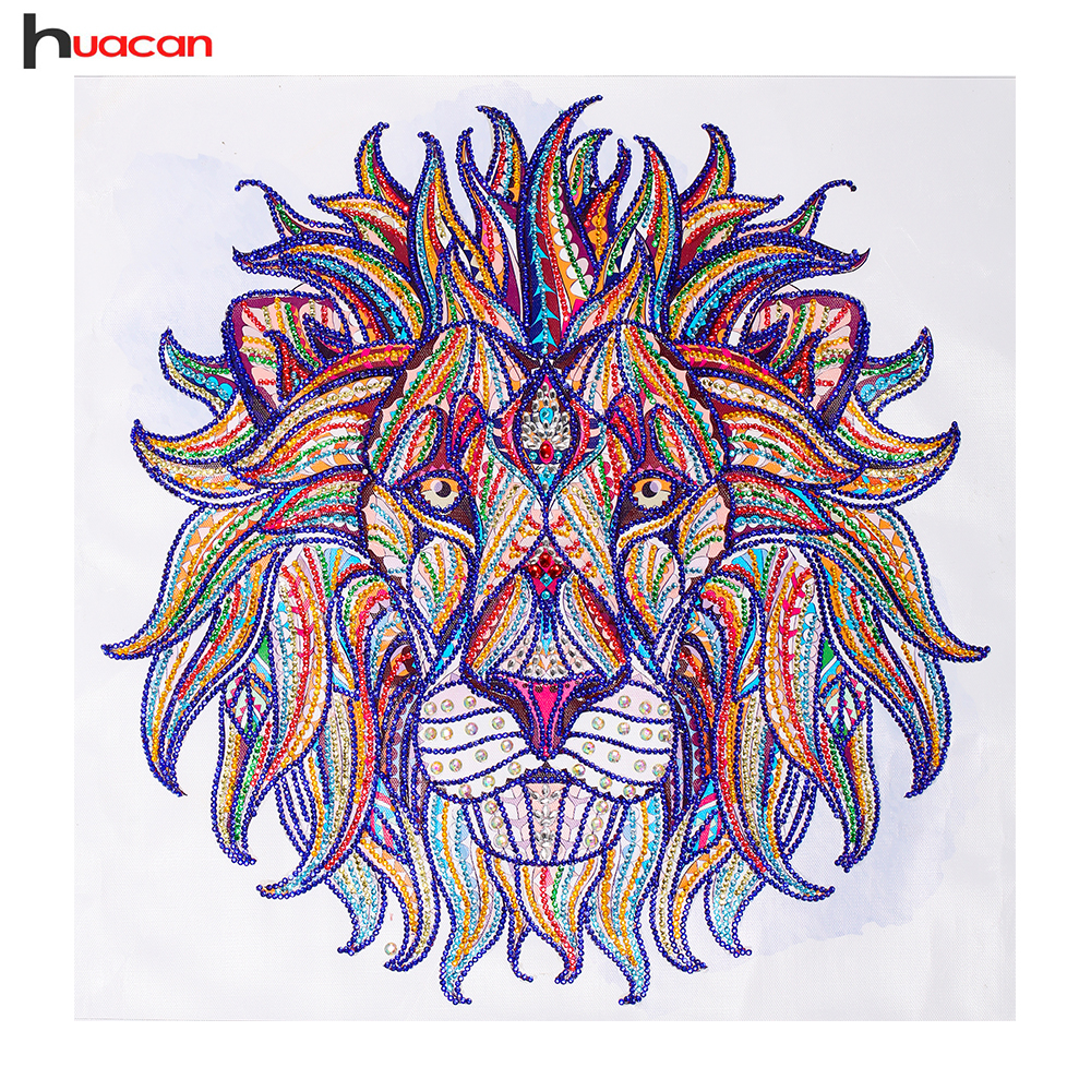 Huacan Diamond Embroidery Animal Special Shaped Diamond Painting Cross Stitch Lion DIY Mosaic Bead Picture Unfinished Kit