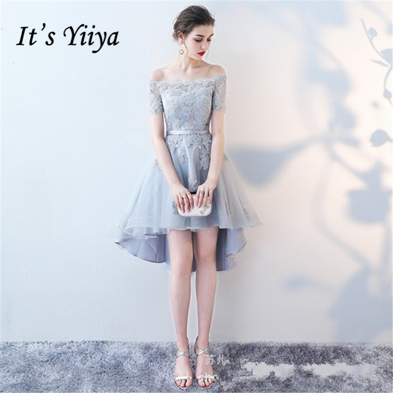 It's YiiYa 2018 Hot Boat Neck Short Sleeve Fashion Designer Lace Illusion Elegant Cocktail Gowns Cocktail Dress LX363