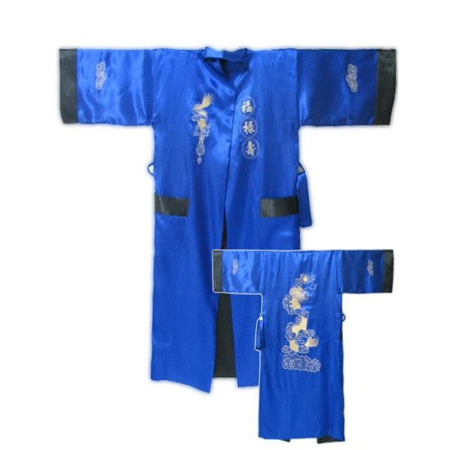 Spring Autumn Reversible Blue Black Chinese Men's Rayon Robe Two-Face Nightgown Embroidery Dragon Kimono Bath Gown One Size