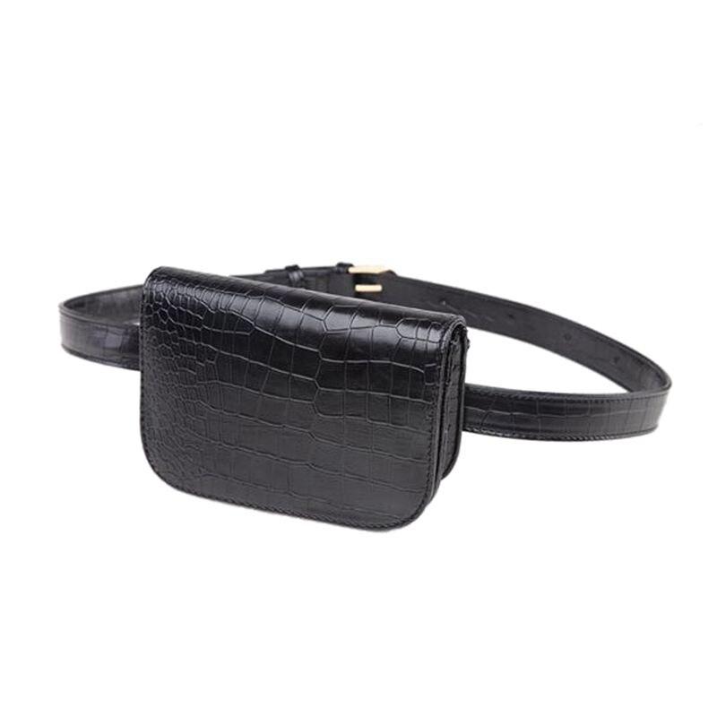 Vintage PU Leather Waist Bag Women Alligator Waist Bag Travel Belt Wallets Fanny Bags Ladies Black