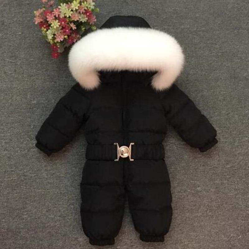 Baby Duck Down   Rompers   Winter Thick Down Climbing Clothes Fox Fur Girl Boy Suit Children's Winter Warm Jumpsuit Snowsuit 0-6T