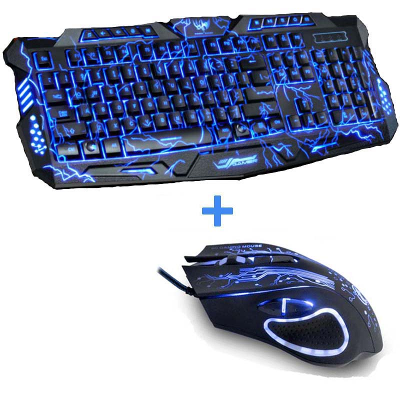 Cool Tri-Color LED Backlit Computer Gaming Keyboard Teclado USB Powered Full N-Key Game Keyboard for Laptop PC Russian Sticker flexible neck usb powered 10 led keyboard light for laptop blue
