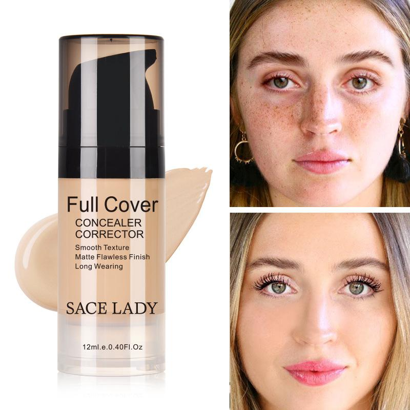 Face Liquid Concealer Cream Full Coverage Makeup Facial Corrector Base Cover Cosmetic Convenient for Dark Circles/Acne/Spots image