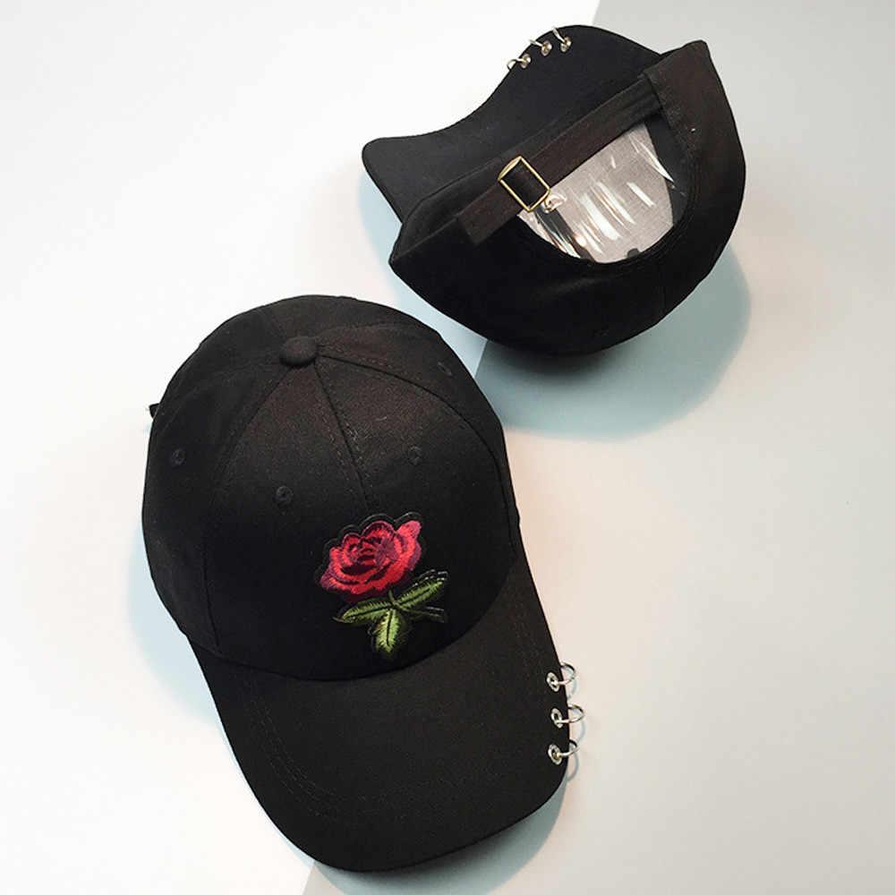 Gorras de béisbol para mujer verano flor chica Rosa Snapback Hip Hop sombrero plano mujer algodón casquette Gorras gorra Casual bordado #0