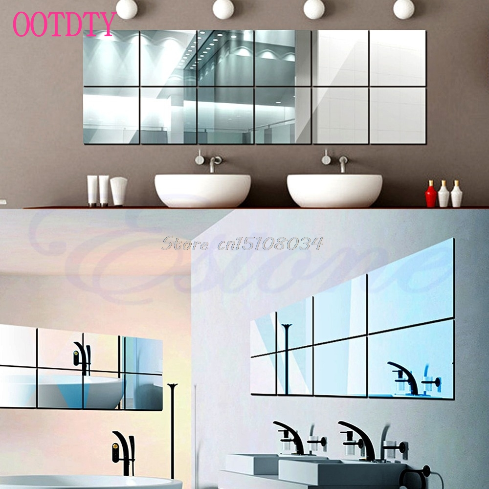 16Pcs Self-adhesive Decorative Mirrors Tiles Mirror Wall Stickers Mirror Decor S08 Wholesale&DropShip