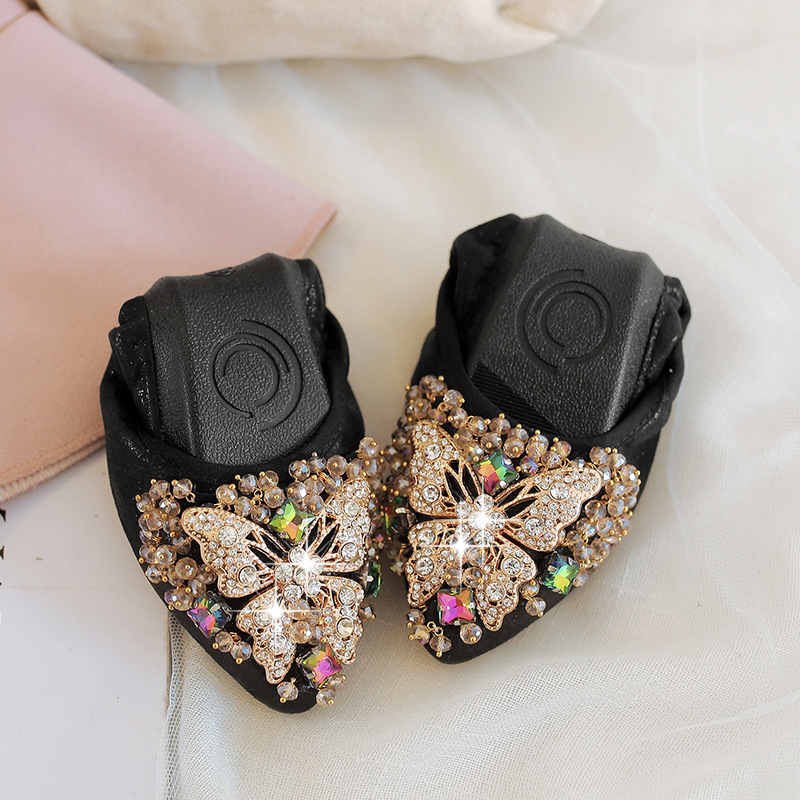 Women Ballerina Flats Slip on Rhinestone Flower Women Flats Shoes Casual Ladies Loafers Shoes plus size 34-42 soft wdzkn flower print women casual shoes slip on flats hollow out soft split leather women loafers big size ladies shoes 35 42