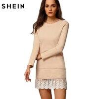 Women Clothing Fashion Mini Dresses Elegant Ladies Long Sleeve Round Neck Contrast Lace Embroidered Flounce Shift