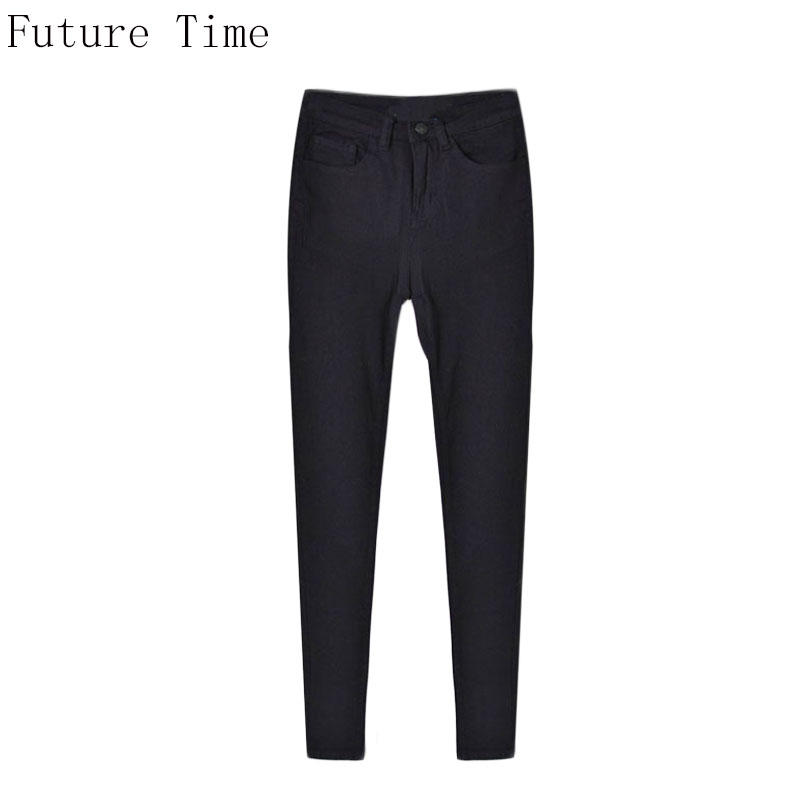 Solid Black Women Jeans High Waist Slim Elastic Full Length Pencil Pants Personality Casual Big Size Female Denim Jeans NZ244