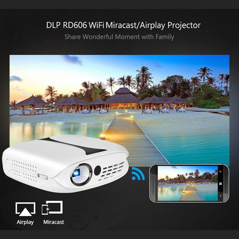 Rigal RD606 mini projecteur technologie DLP 1280x1080 résolution écran de synchronisation filaire pour Iphone Ipad téléphone LED Portable HD projecteur - 2